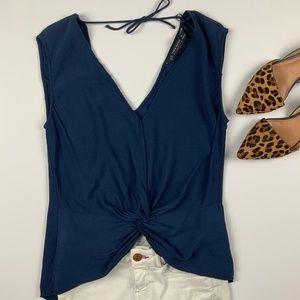 Zara Sleeveless Blouse w/ Knot Front + Tie Detail